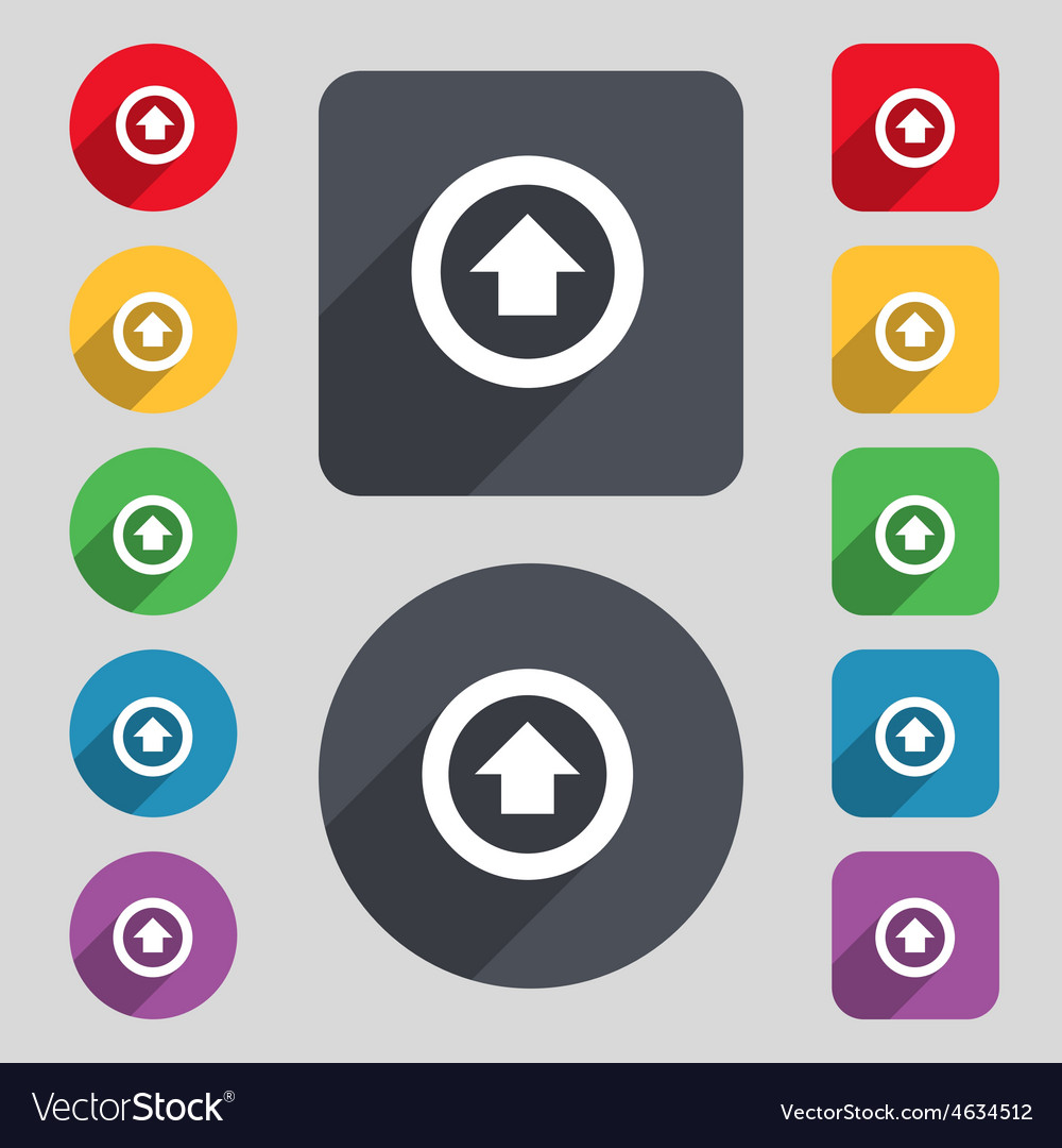 Direction arrow up icon sign a set of 12 colored vector | Price: 1 Credit (USD $1)