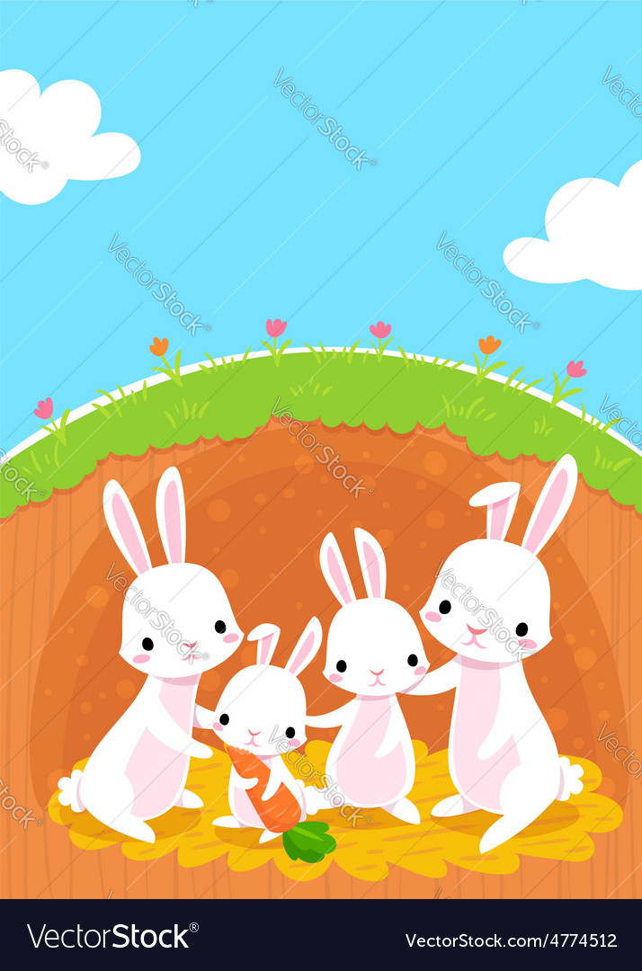 Rabbits family vector | Price: 1 Credit (USD $1)
