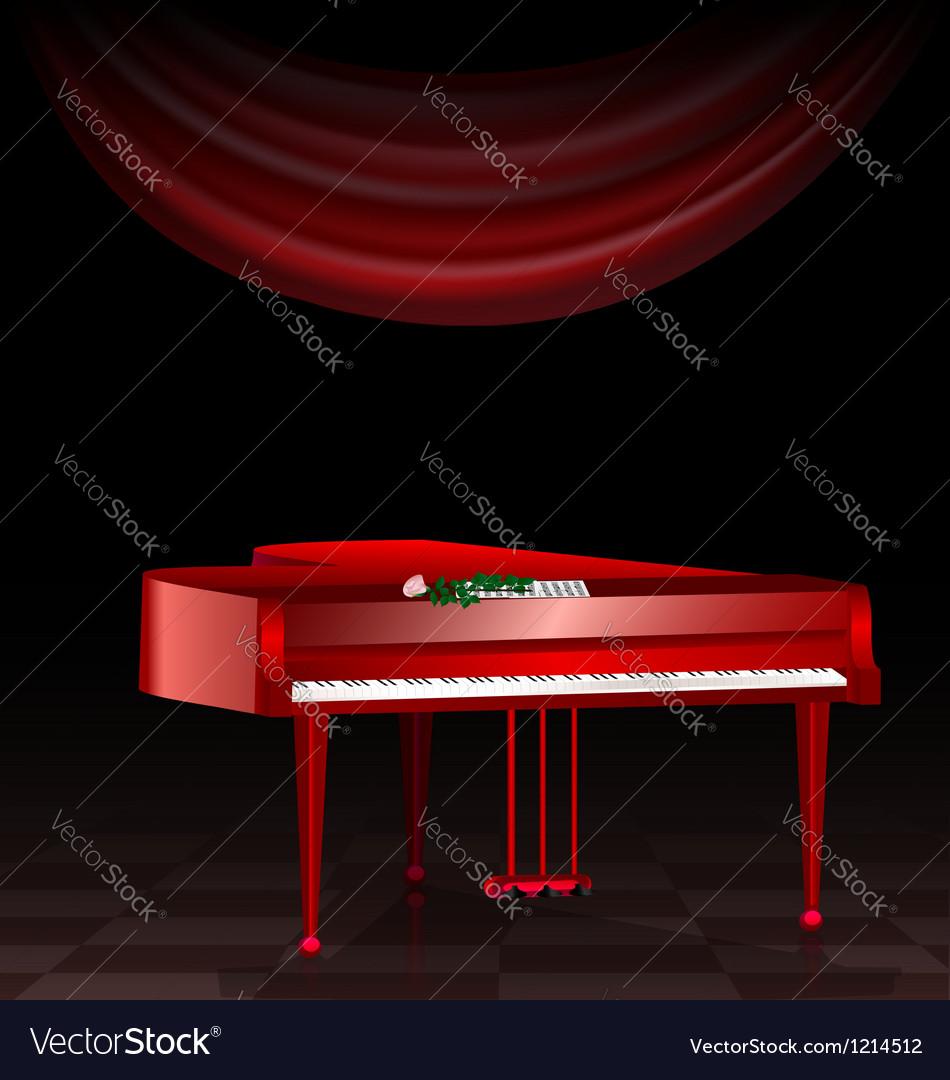 Red piano and dark room vector | Price: 1 Credit (USD $1)