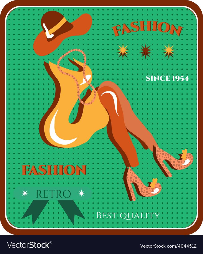 Retro fashion dress vector | Price: 1 Credit (USD $1)