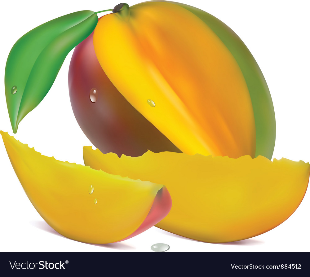 Sliced mango vector | Price: 1 Credit (USD $1)