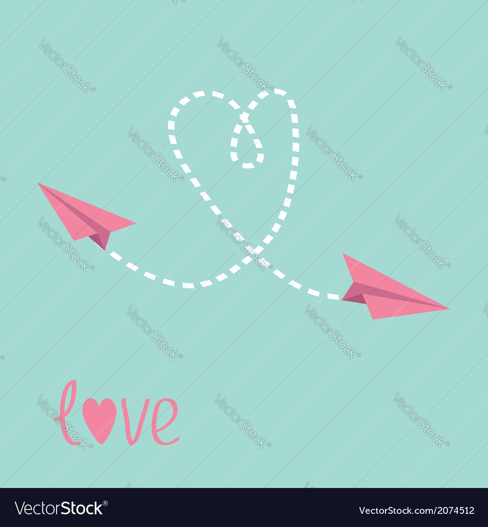 Two flying paper planes heart in the sky love card vector | Price: 1 Credit (USD $1)