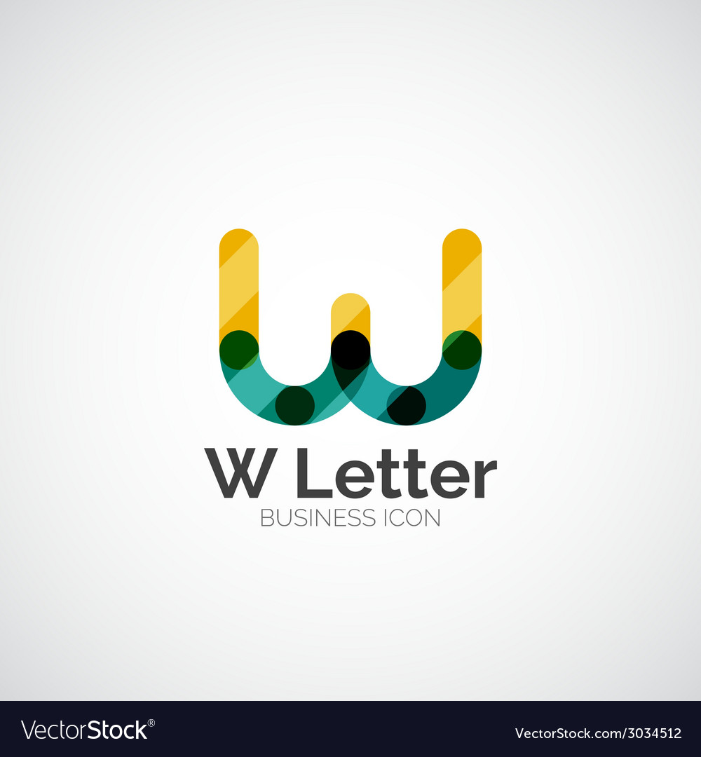 W letter logo minimal line design vector | Price: 1 Credit (USD $1)