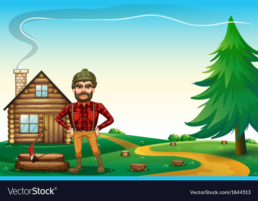 A lumberjack standing in front of the wooden vector | Price: 3 Credit (USD $3)