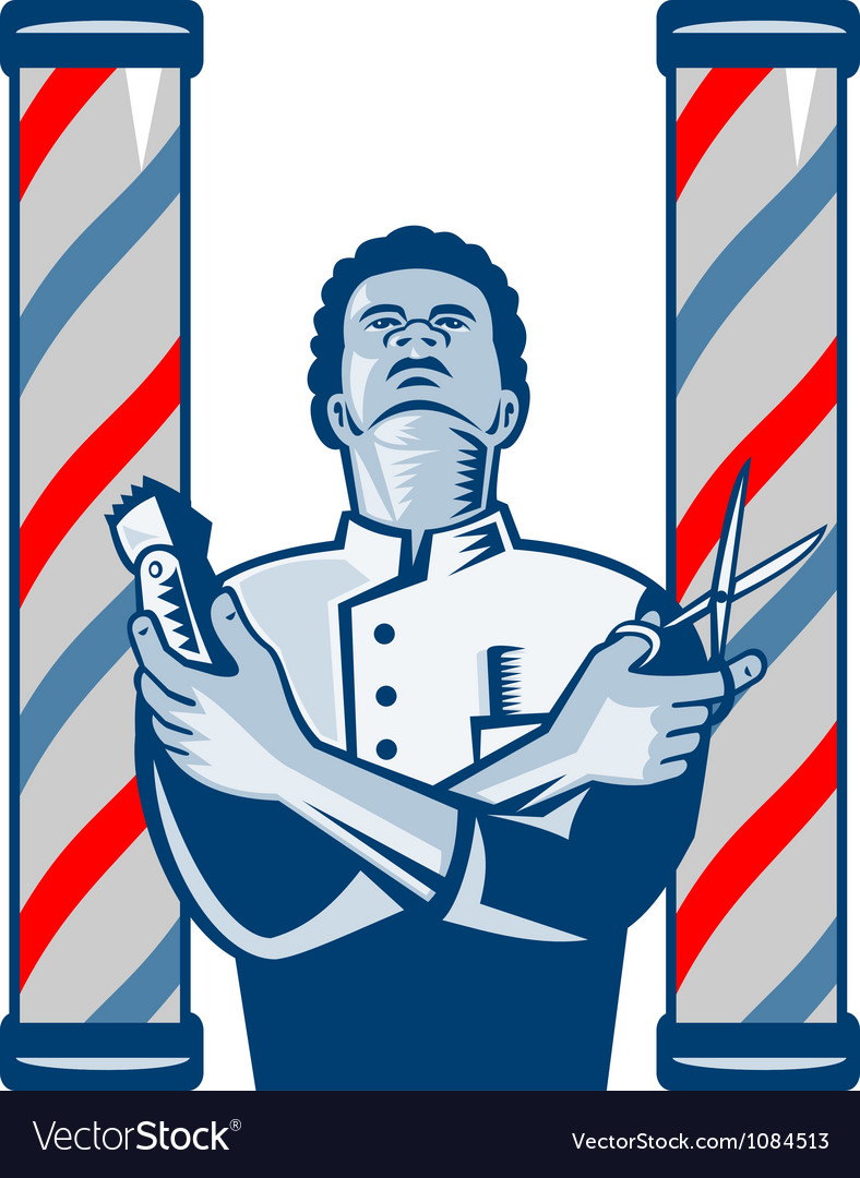Barber with pole hair clipper and scissors retro vector | Price: 1 Credit (USD $1)