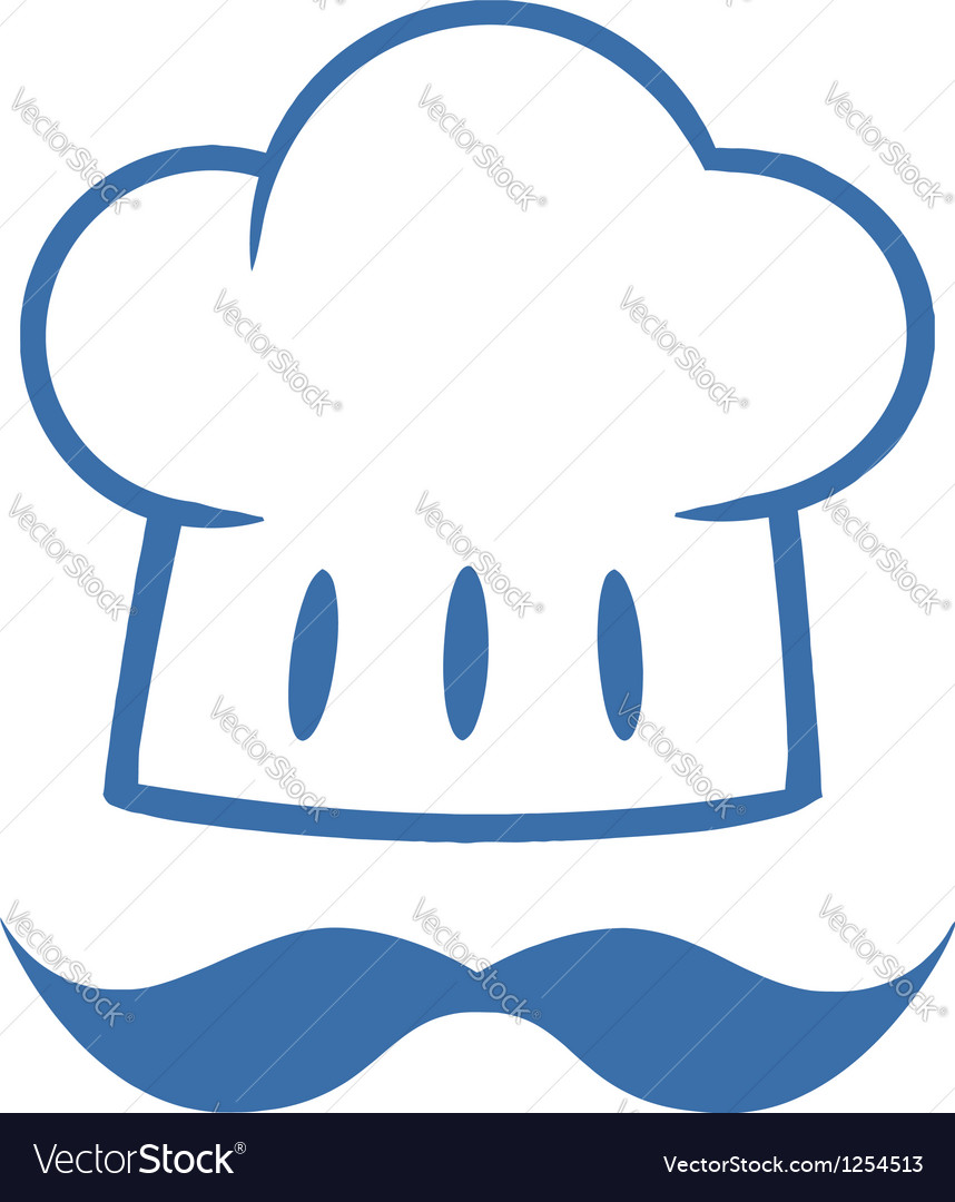 Blue chef hat with a mustache logo vector | Price: 1 Credit (USD $1)