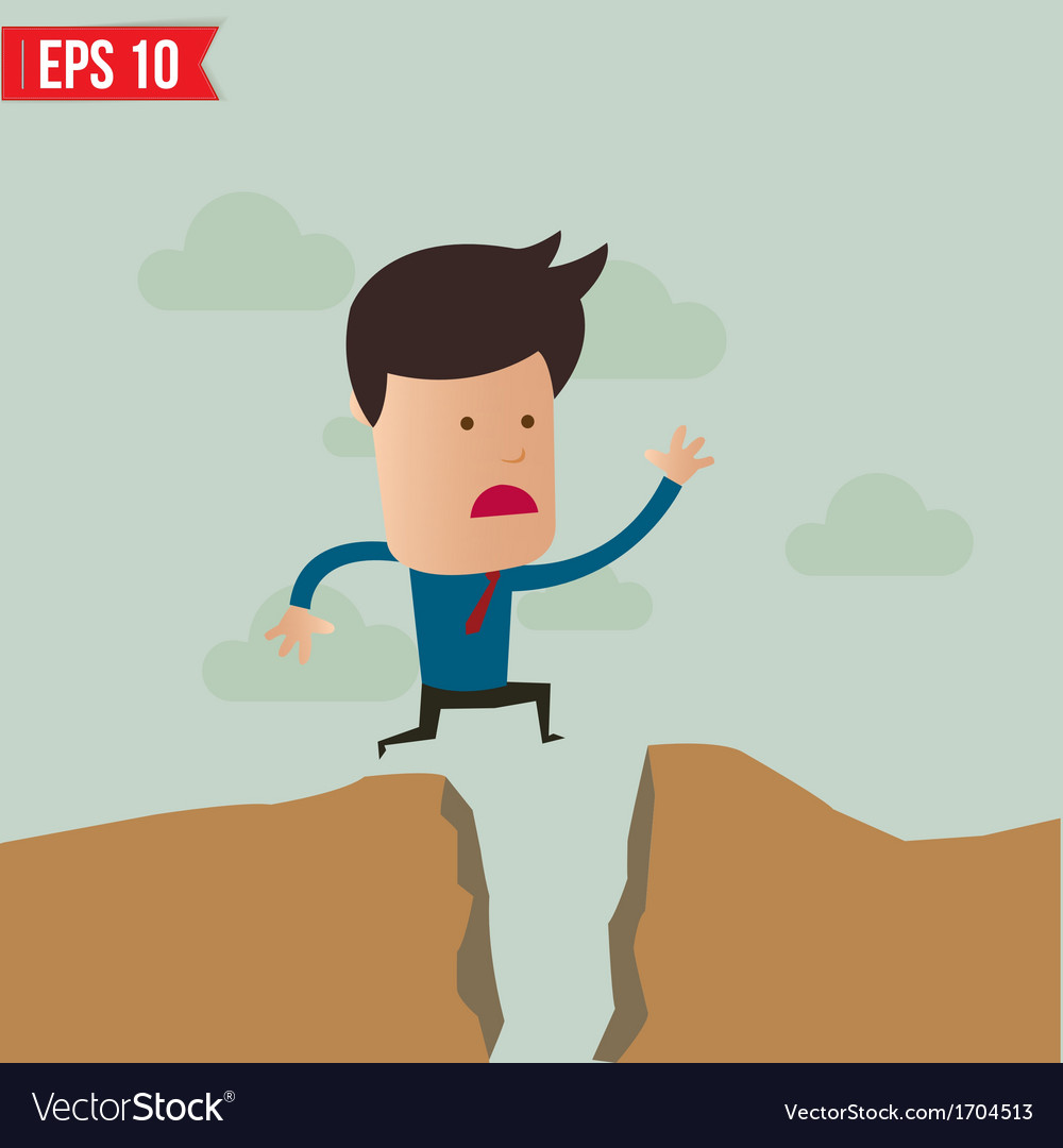 Business man jump over the hill - - eps10 vector | Price: 1 Credit (USD $1)