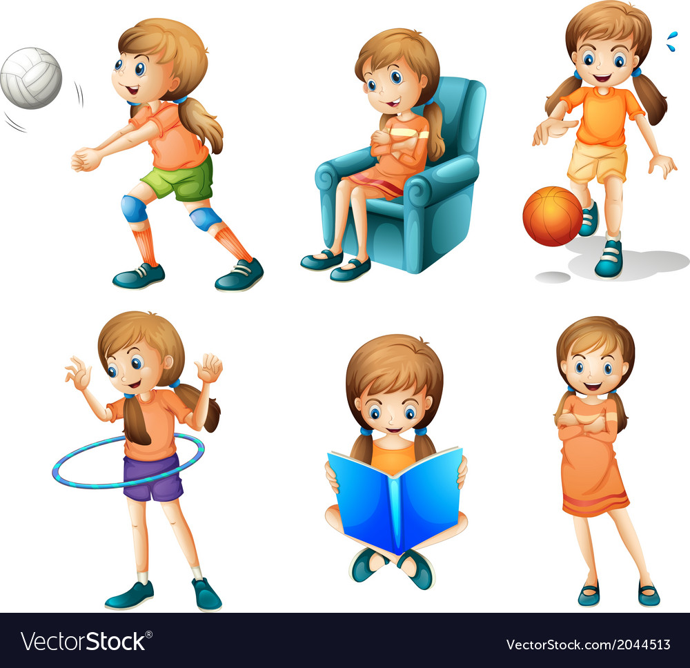 Different activities of a young lady vector | Price: 3 Credit (USD $3)