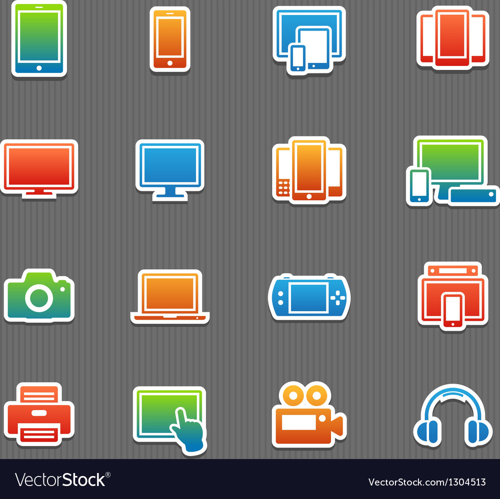 Full color device symbol icon set vector | Price: 1 Credit (USD $1)