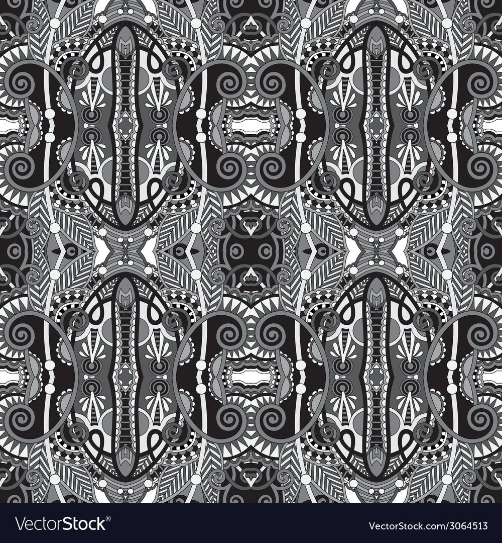 Grey geometry vintage floral seamless pattern vector | Price: 1 Credit (USD $1)