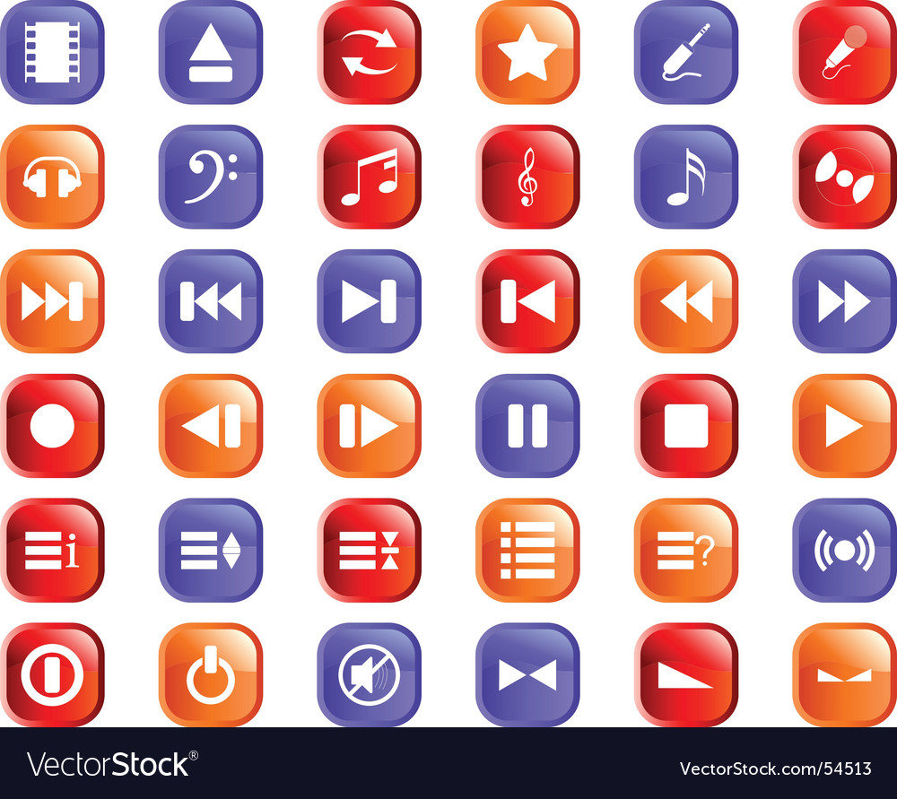 Musical icons set vector | Price: 1 Credit (USD $1)