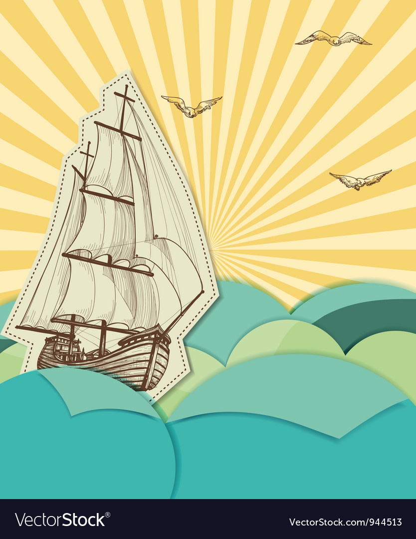 Retro sea background vector | Price: 1 Credit (USD $1)