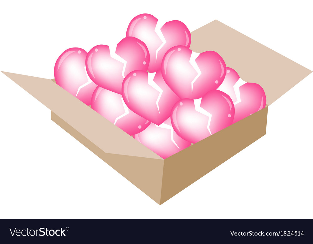 Beautiful little broken hearts in a shipping box vector | Price: 1 Credit (USD $1)