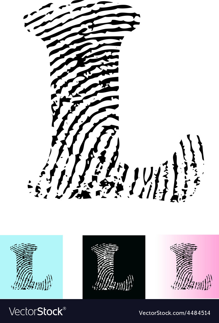 Fingerprint alphabet letter l vector | Price: 1 Credit (USD $1)