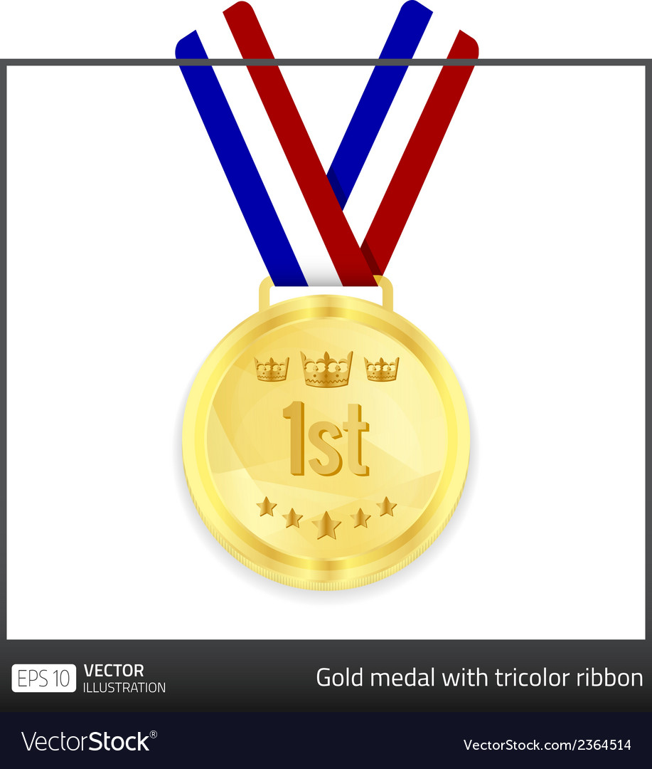 Gold medal with tricolor ribbon vector | Price: 1 Credit (USD $1)