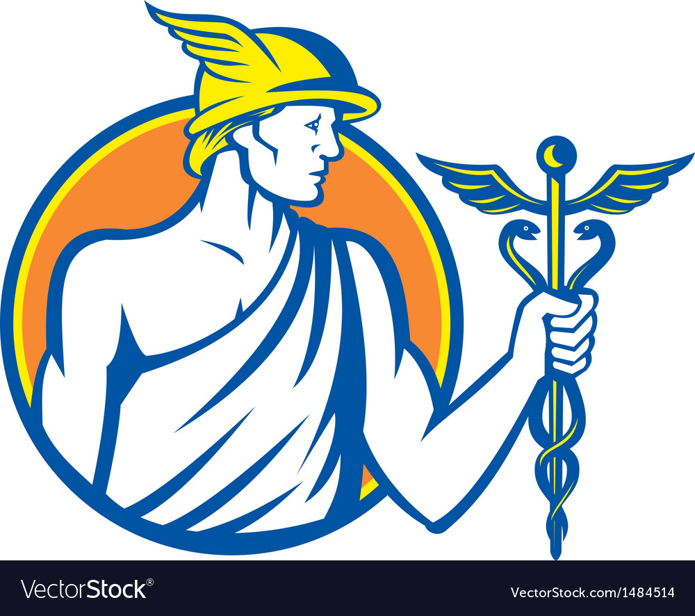 Mercury holding caduceus staff vector | Price: 1 Credit (USD $1)