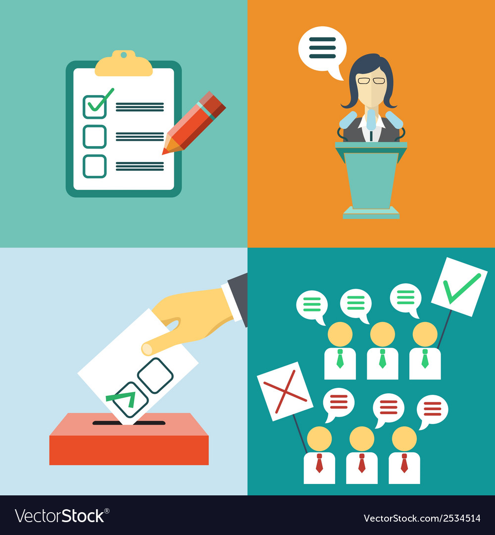 Politics concept in flat style vote elections vector | Price: 1 Credit (USD $1)