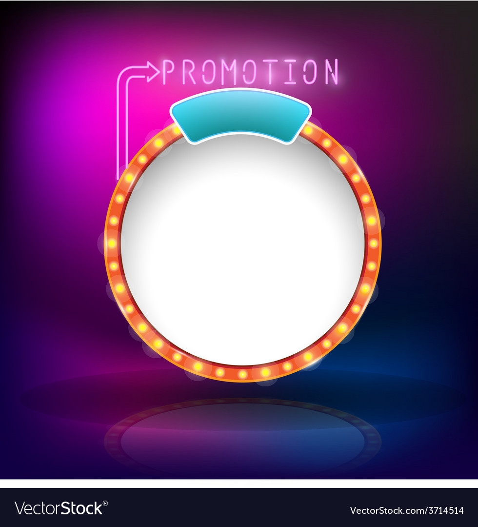 Retro vintage circle frame promotion neon vector | Price: 1 Credit (USD $1)