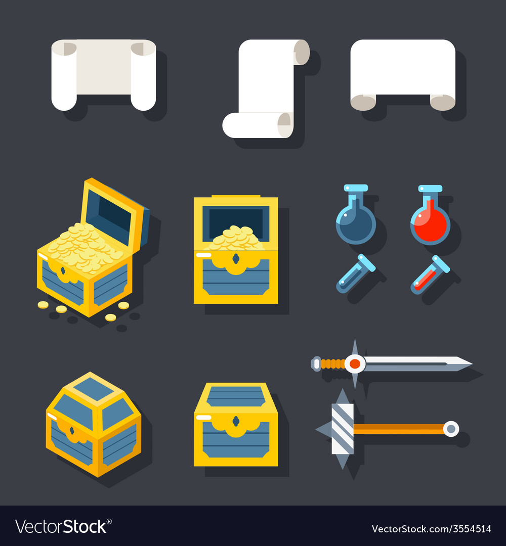 Rpg game accessories icons set scrolls treasure vector | Price: 1 Credit (USD $1)