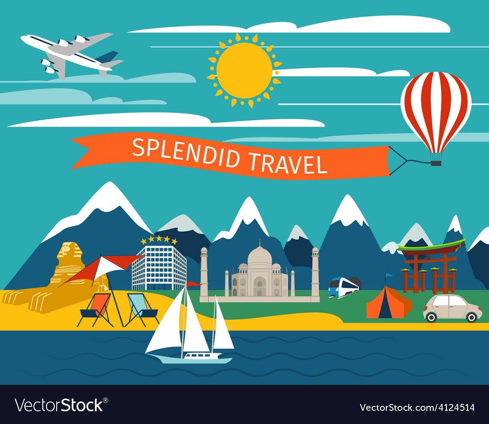 Splendid travel background vector | Price: 1 Credit (USD $1)