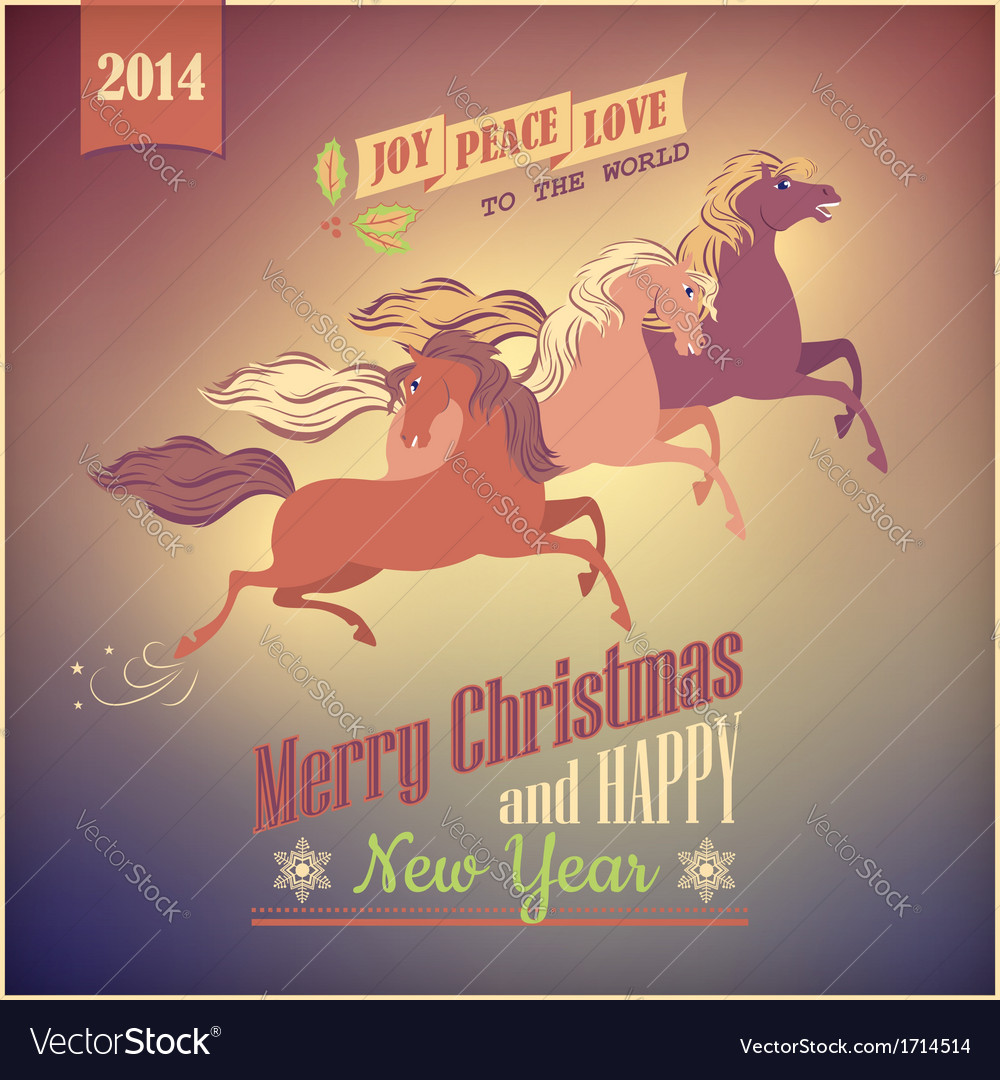 Vintage galloping horse christmas 2014 card vector | Price: 1 Credit (USD $1)