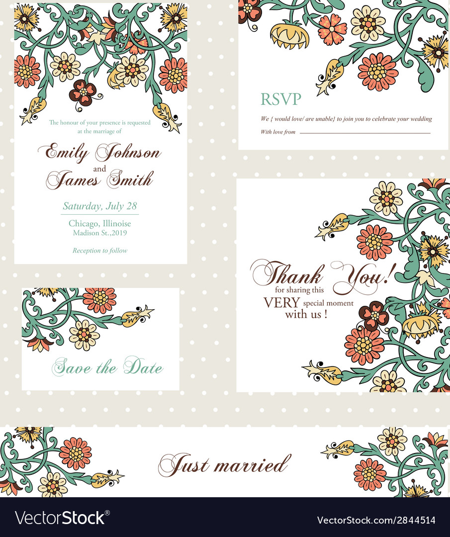 Wedding invitation set with vintage flowers vector | Price: 1 Credit (USD $1)