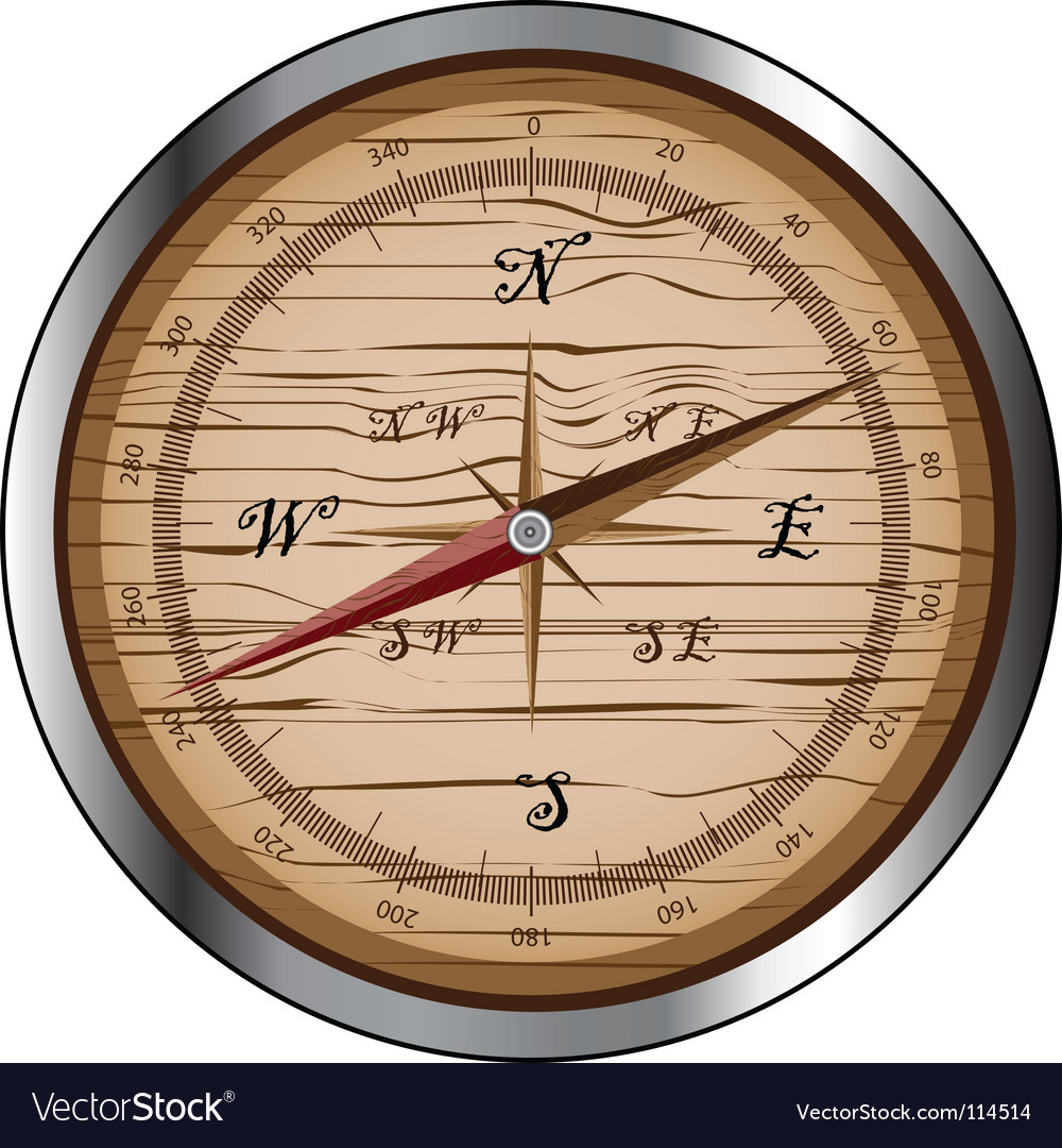 Wooden compass vector | Price: 1 Credit (USD $1)