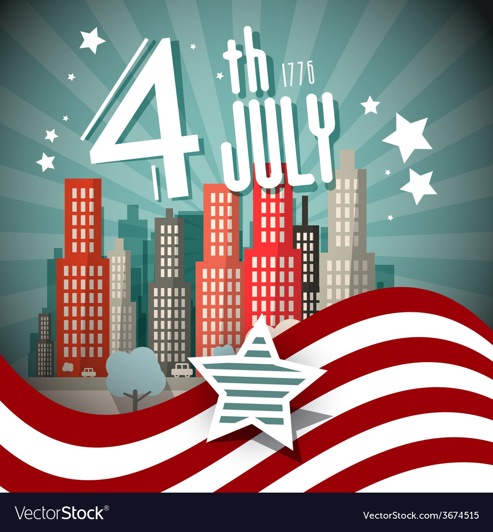 4 th july retro with flag and city on backgr vector | Price: 1 Credit (USD $1)