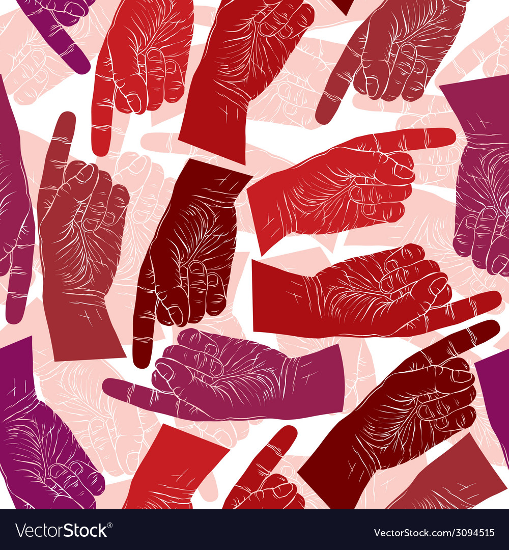 Finger pointing hands seamless pattern background vector   Price: 1 Credit (USD $1)