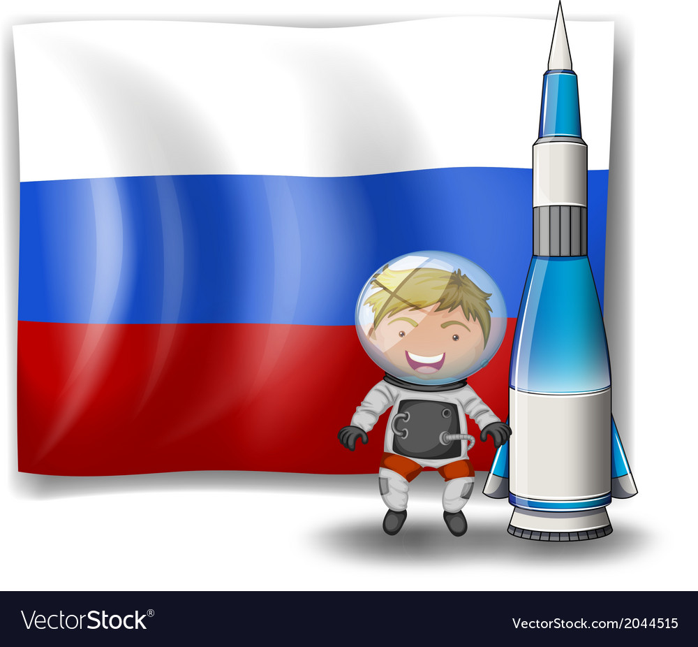 The flag of russia with an explorer and a rocket vector | Price: 1 Credit (USD $1)