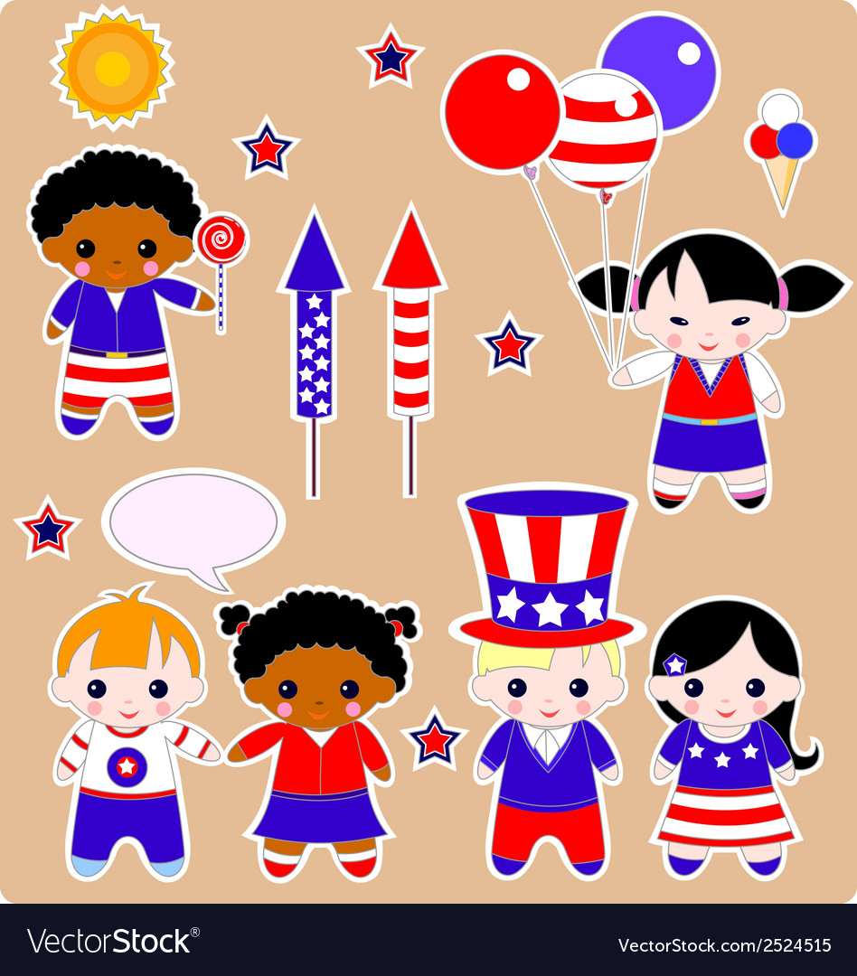 Fourth of july children vector | Price: 1 Credit (USD $1)