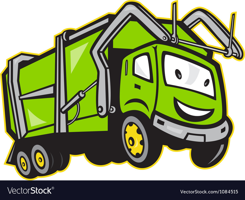 Garbage rubbish truck cartoon vector | Price: 1 Credit (USD $1)
