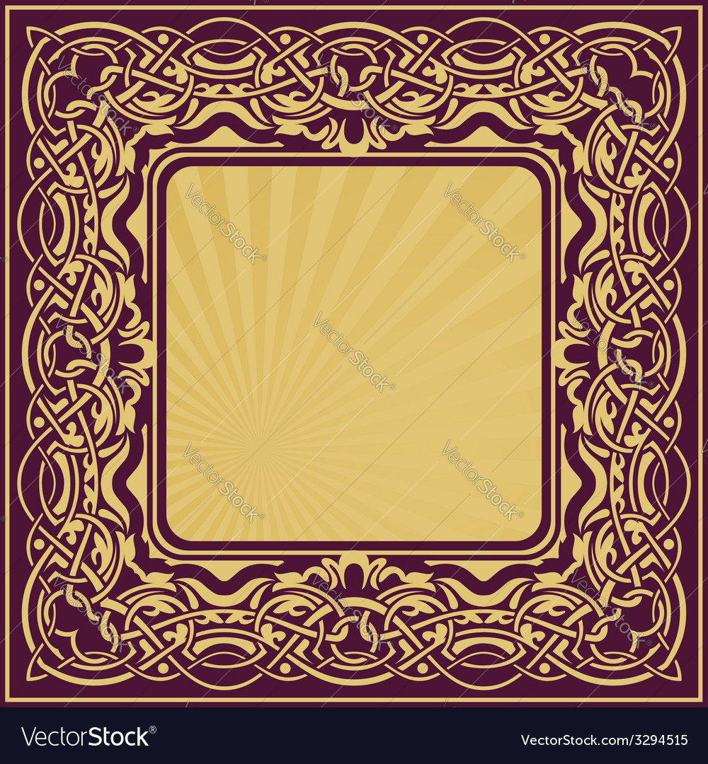 Gold frame with floral ornamental vector | Price: 1 Credit (USD $1)