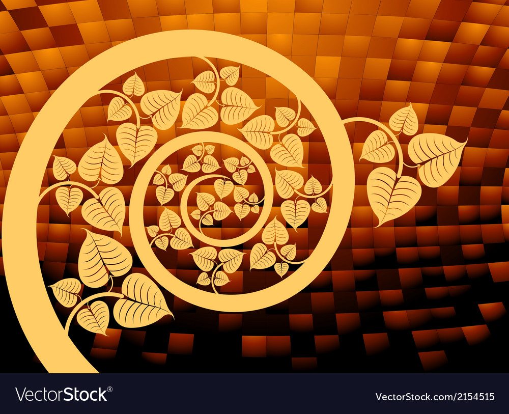 Gold patterned curve branch with leaf vector | Price: 1 Credit (USD $1)