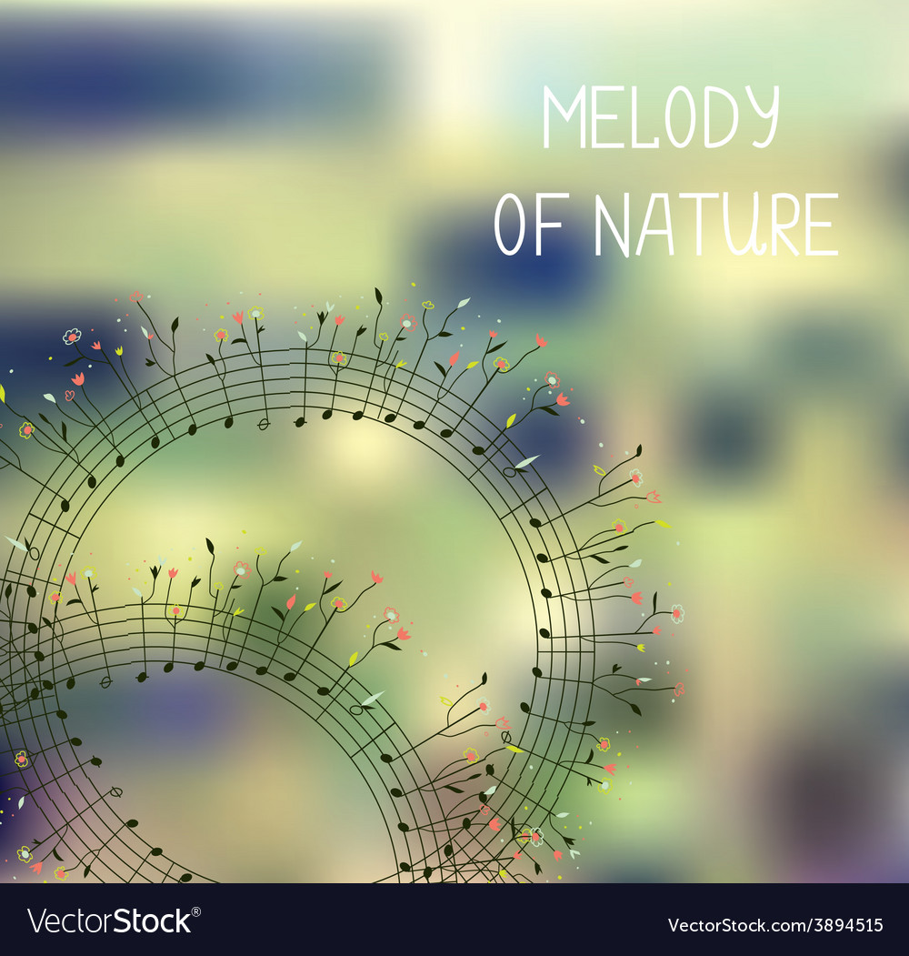 Melody of nature - romantic background with notes vector | Price: 1 Credit (USD $1)