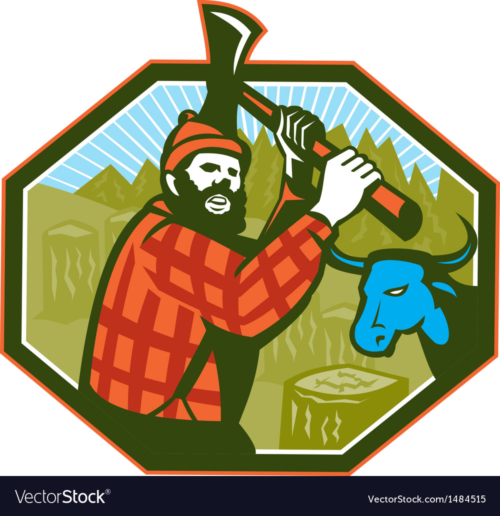 Paul bunyan lumberjack axe blue ox vector | Price: 1 Credit (USD $1)