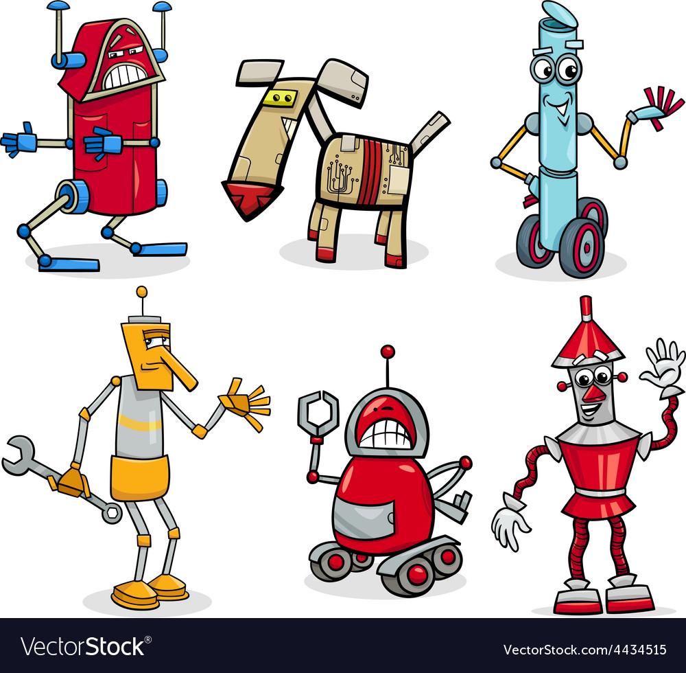 Robots cartoon set vector   Price: 1 Credit (USD $1)
