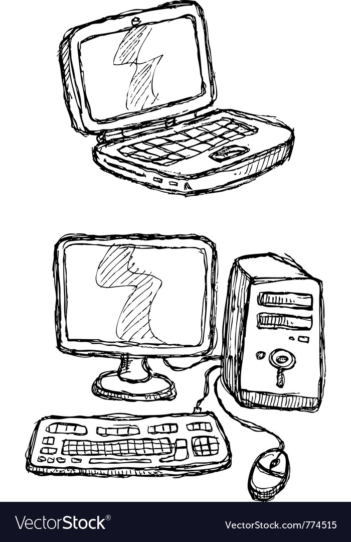 Scribble series - computers vector | Price: 1 Credit (USD $1)