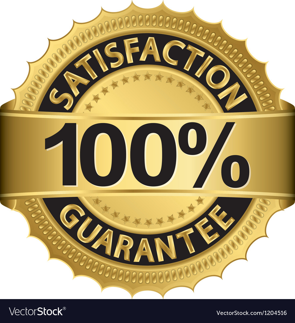 100 percent satisfaction guarantee golden sign wit vector | Price: 1 Credit (USD $1)