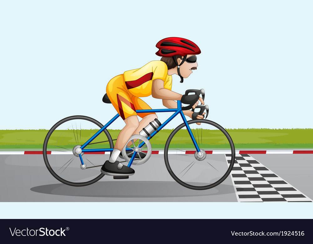 A biker near the finish lane vector | Price: 3 Credit (USD $3)
