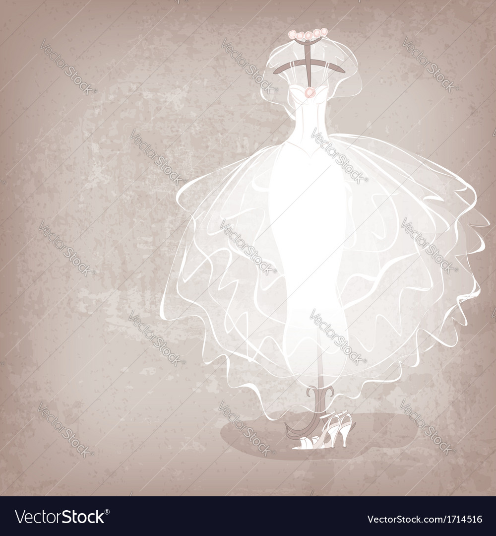 Bride dress on grungy background vector | Price: 1 Credit (USD $1)