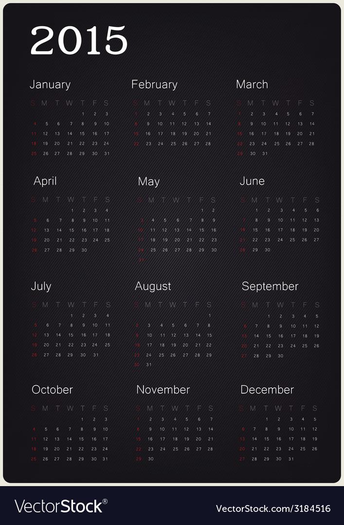 Calendar 2015 on black texture vector | Price: 1 Credit (USD $1)
