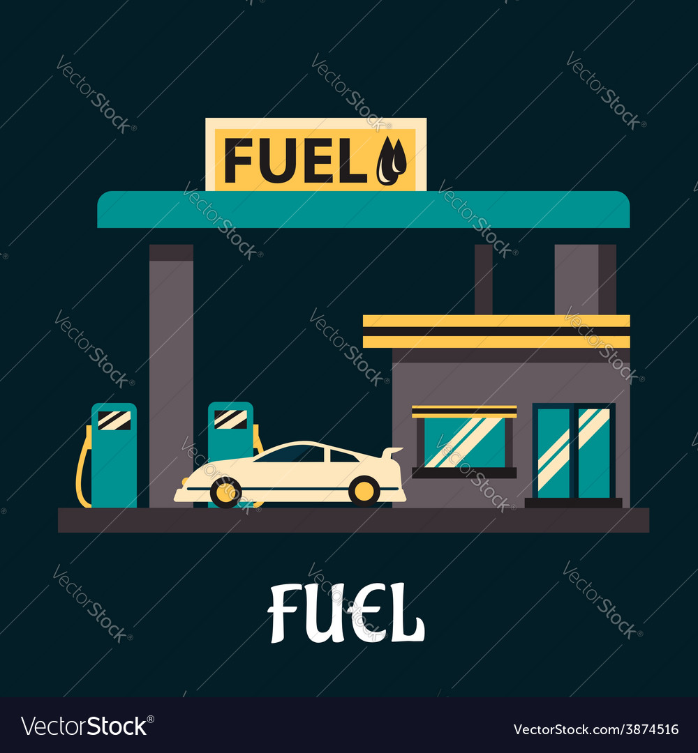 Car at gas station in flat style vector | Price: 1 Credit (USD $1)