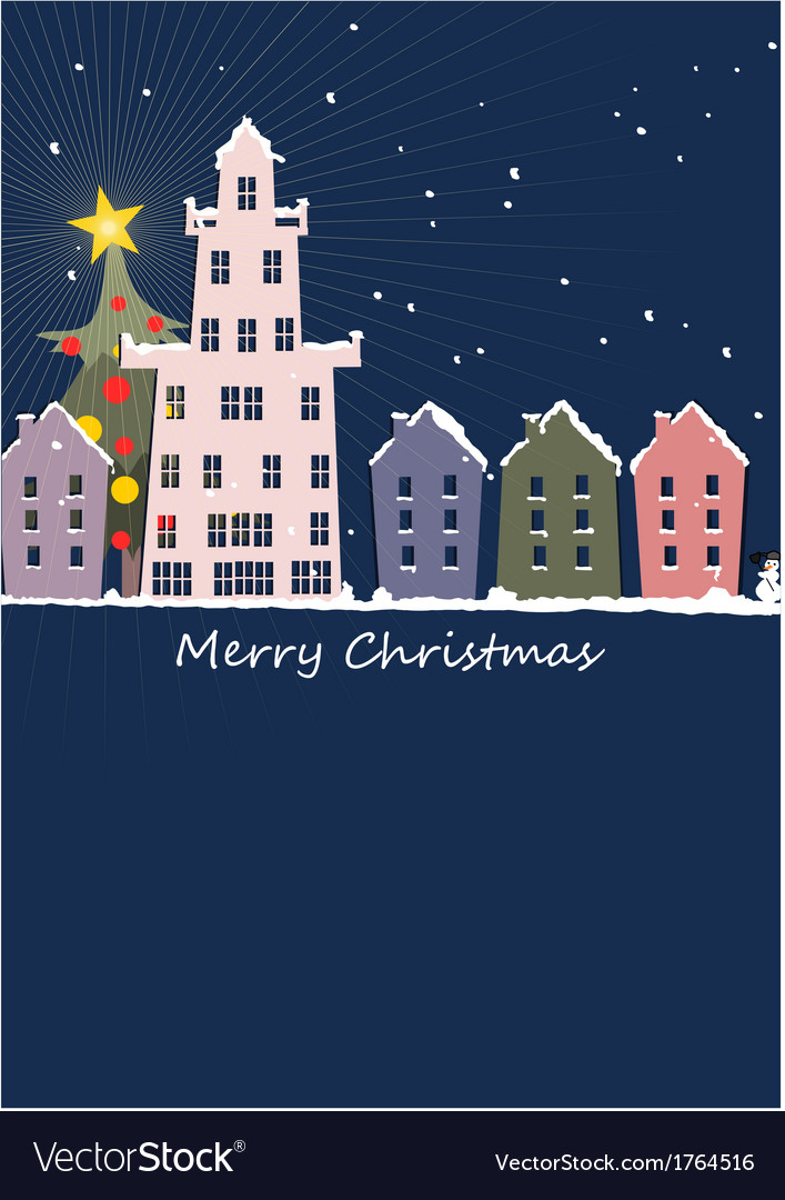 Christmas night in our small town vector | Price: 1 Credit (USD $1)
