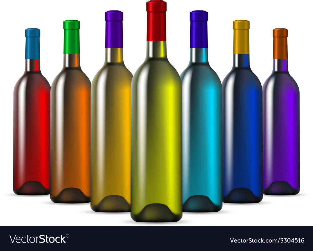 Color glass wine bottles vector | Price: 1 Credit (USD $1)