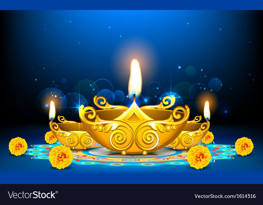 Decorated diya vector | Price: 1 Credit (USD $1)