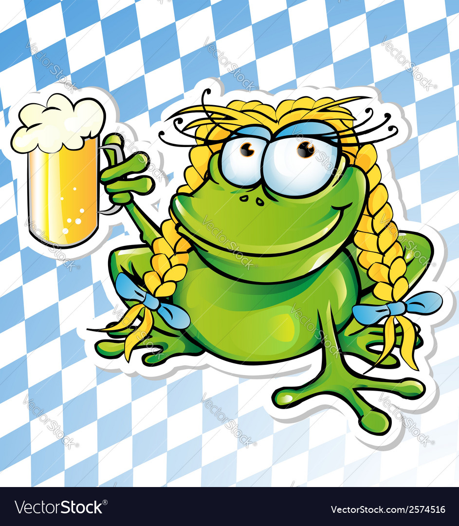 Funny frog cartoon with beer glass vector | Price: 1 Credit (USD $1)