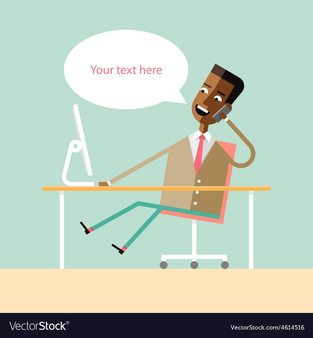 Handsome african american manager talking on phone vector | Price: 1 Credit (USD $1)