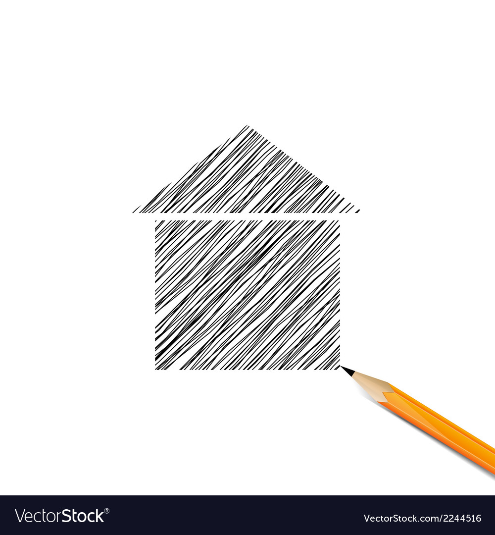 House drawn with pencils vector | Price: 1 Credit (USD $1)