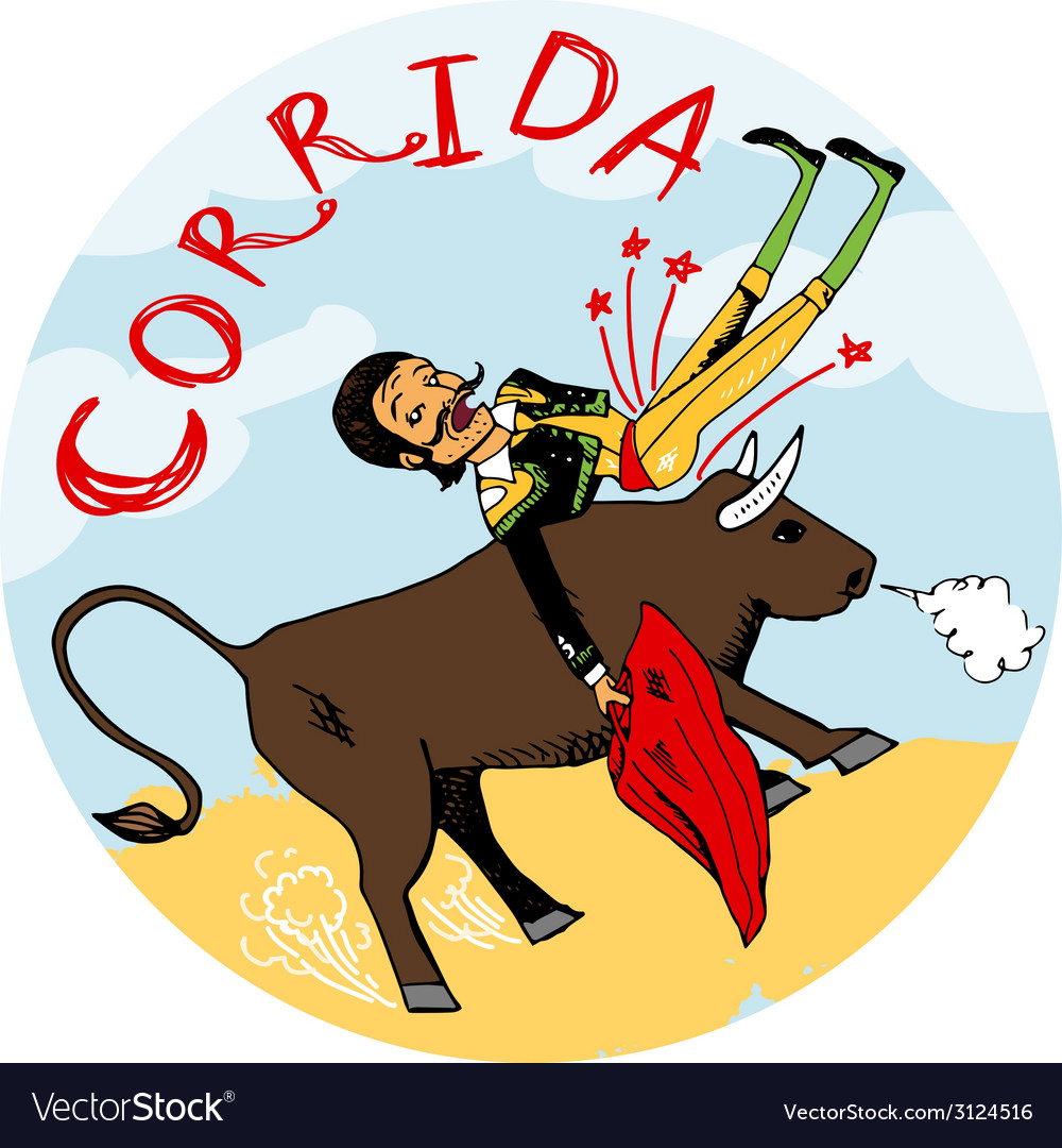 Matador being tossed in the air by an angry bull vector | Price: 1 Credit (USD $1)
